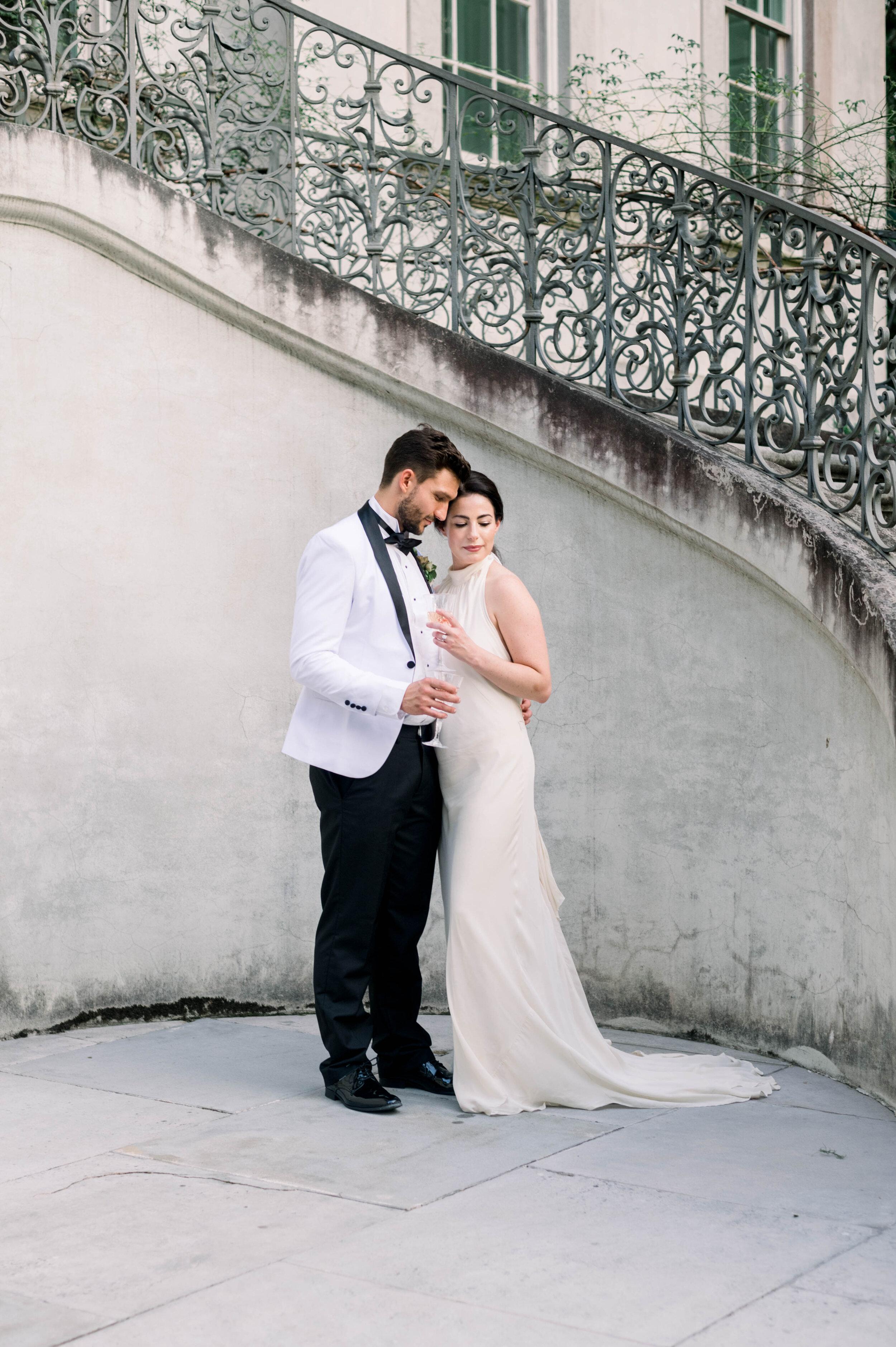 fine art wedding, Atlanta wedding, swan house wedding, modern wedding, rolls Royce wedding, swan house, high neck wedding dress, white tux, bride and groom portraits