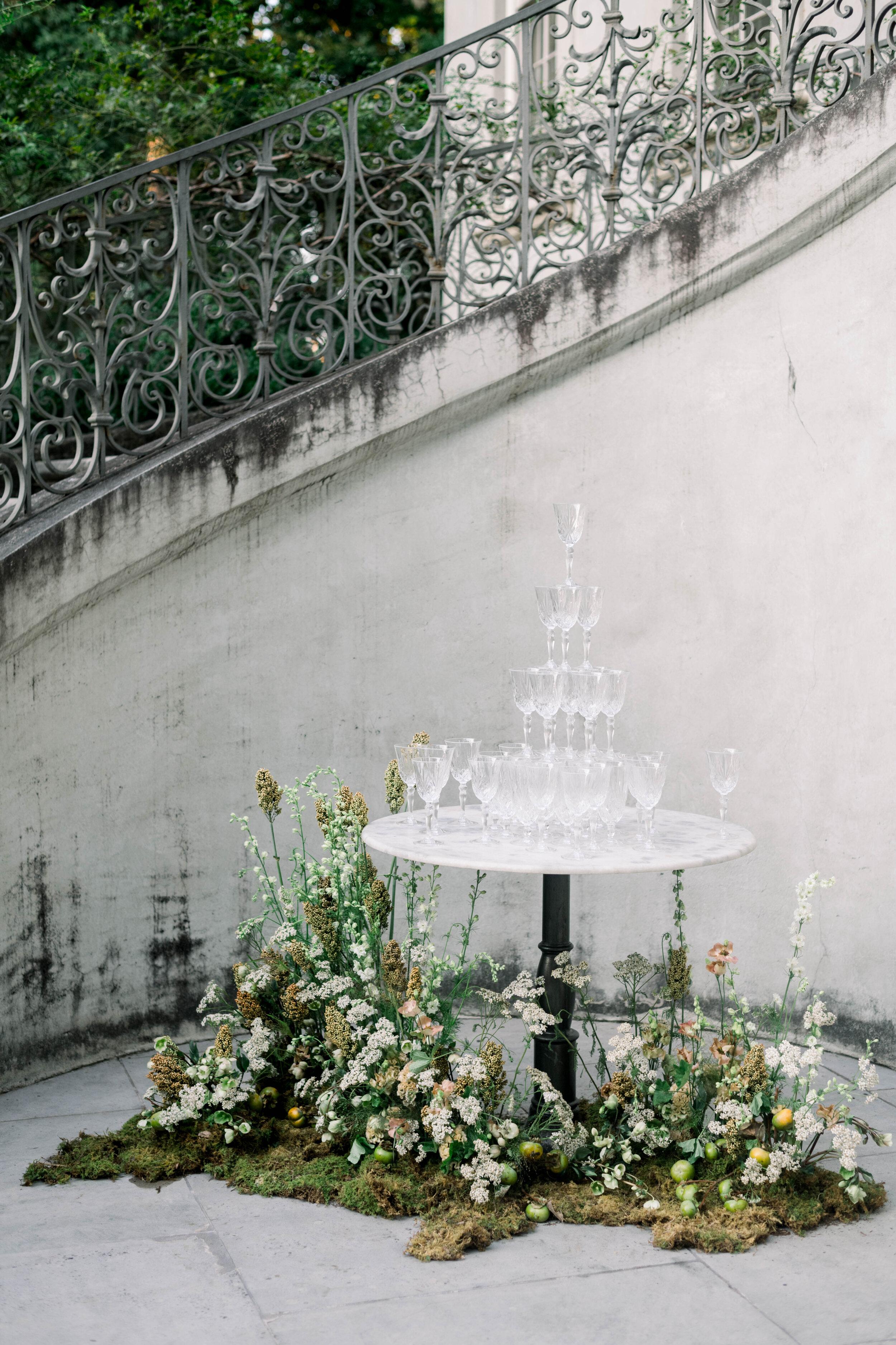 fine art wedding, Atlanta wedding, swan house wedding, modern wedding, rolls Royce wedding, swan house, high neck wedding dress, white tux, champagne toast