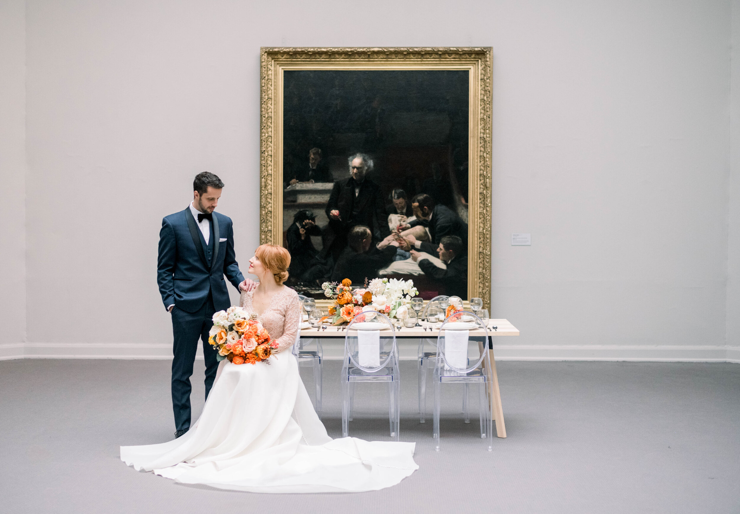 Fine art wedding inspiration with Kelly Faetanini dress and fall florals at PAFA museum in Philadelphia by Liz Andolina Photography