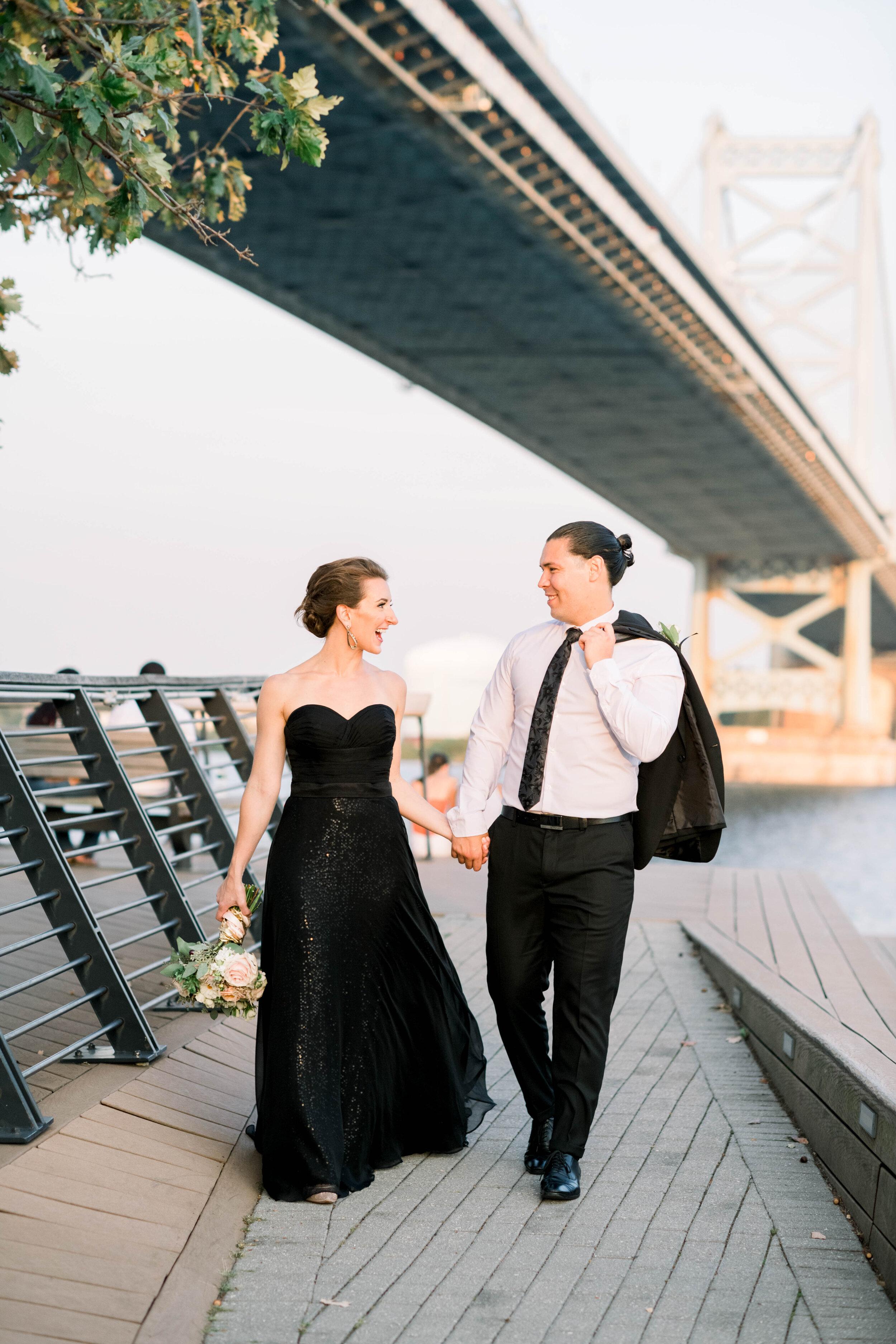 Philadelphia-sunset-engagement-shoot-race street pier-stylish couple-old city Philly-photo