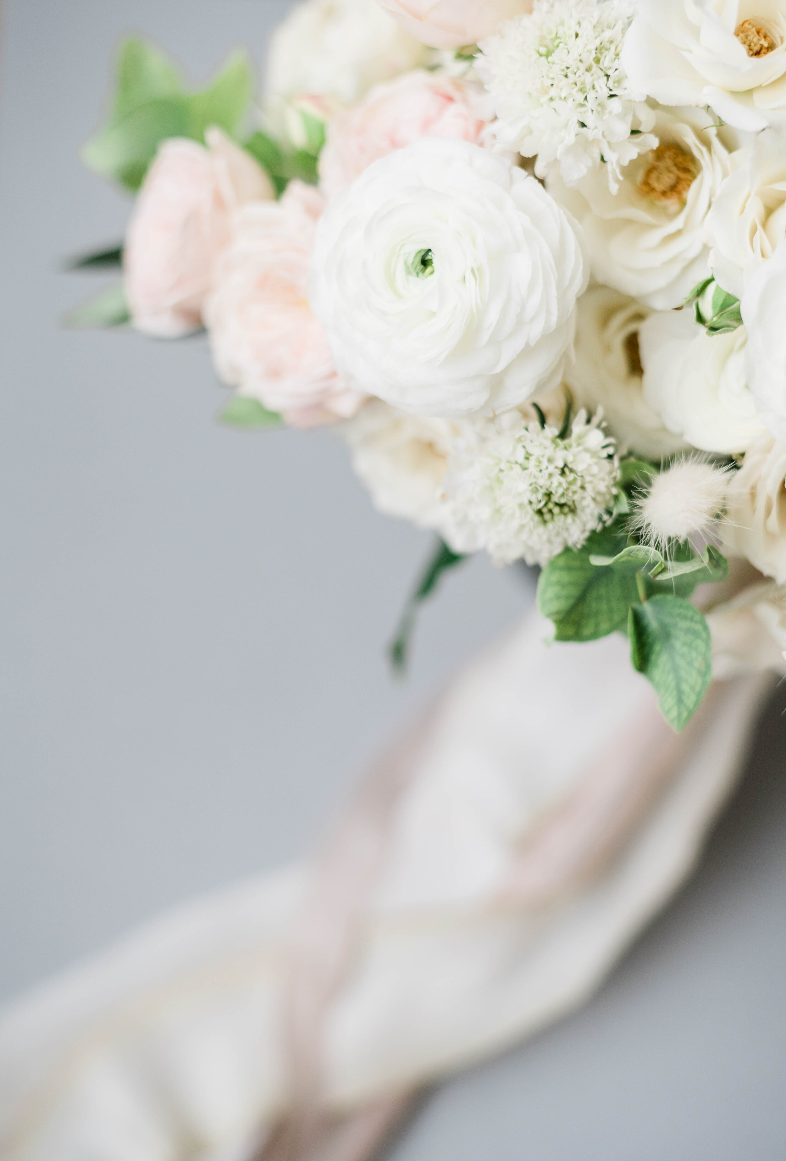 Fine Art Bride Editorial in Princeton with white and pink fine art bridal bouquet