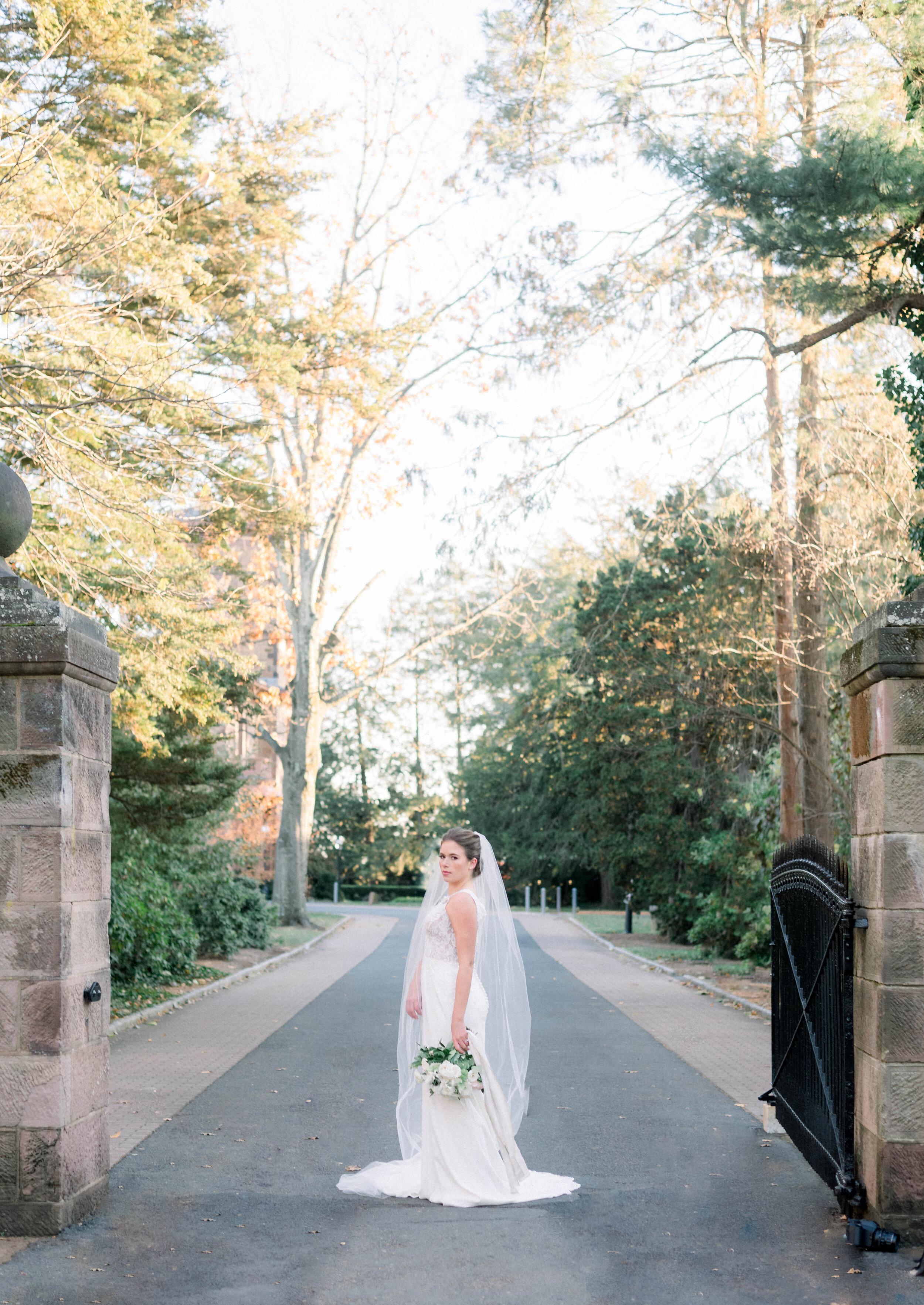 Fine Art Bride Editorial at Princeton University with Justin Alexander dress and fine art bridal bouquet