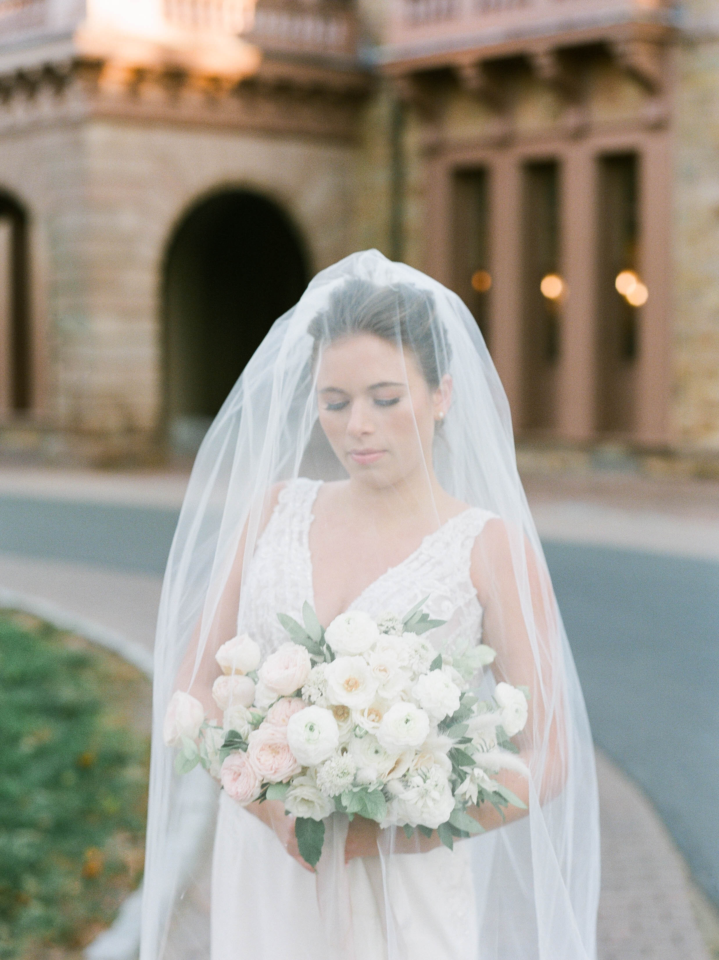Fine Art Bride Editorial at Princeton University featured on Glittery Bride with Justin Alexander wedding gown, veil, and bridal bouquet