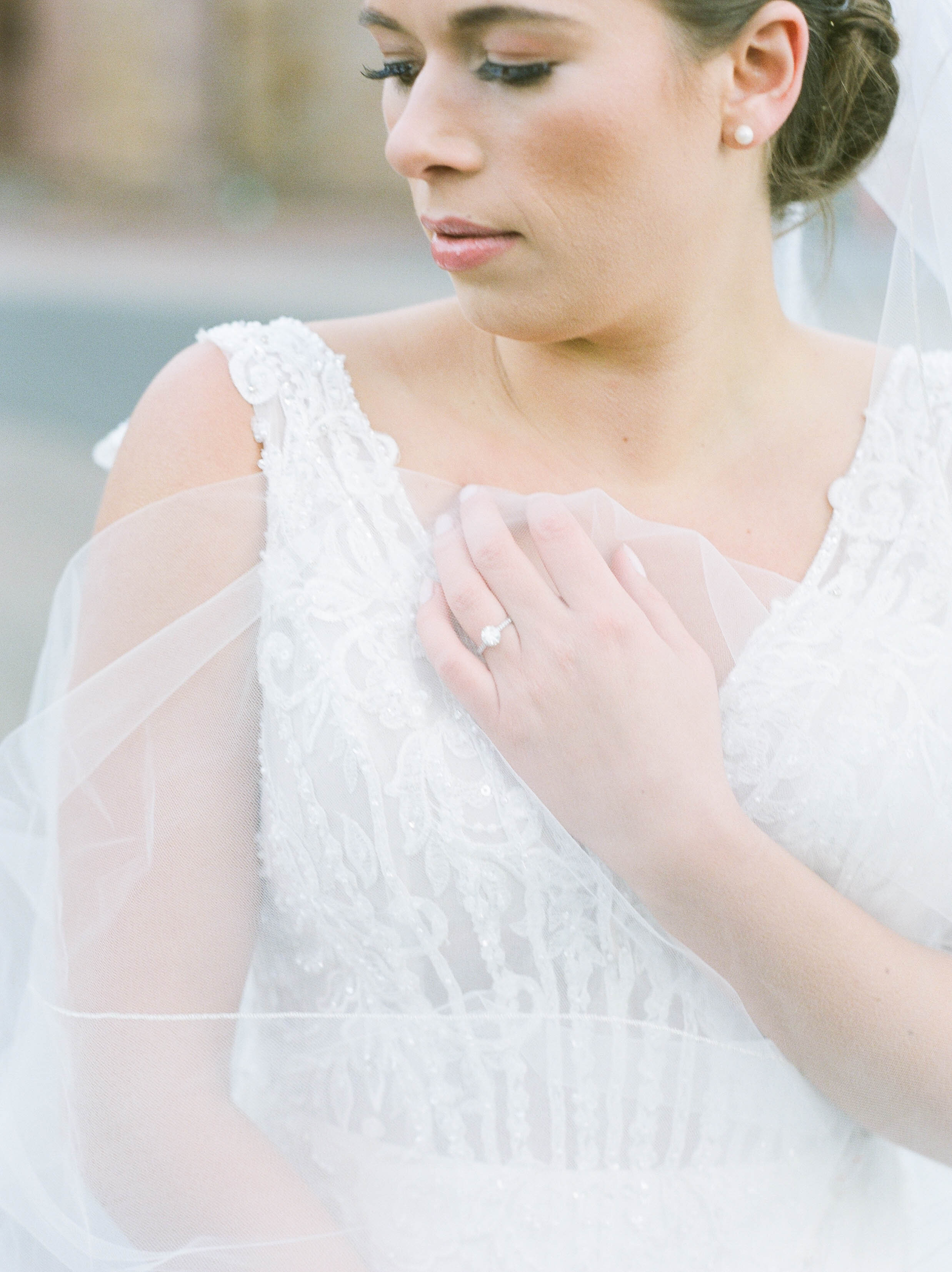 Fine Art Bride Editorial at Princeton University with Justin Alexander wedding gown and veil featured on Glittery Bride