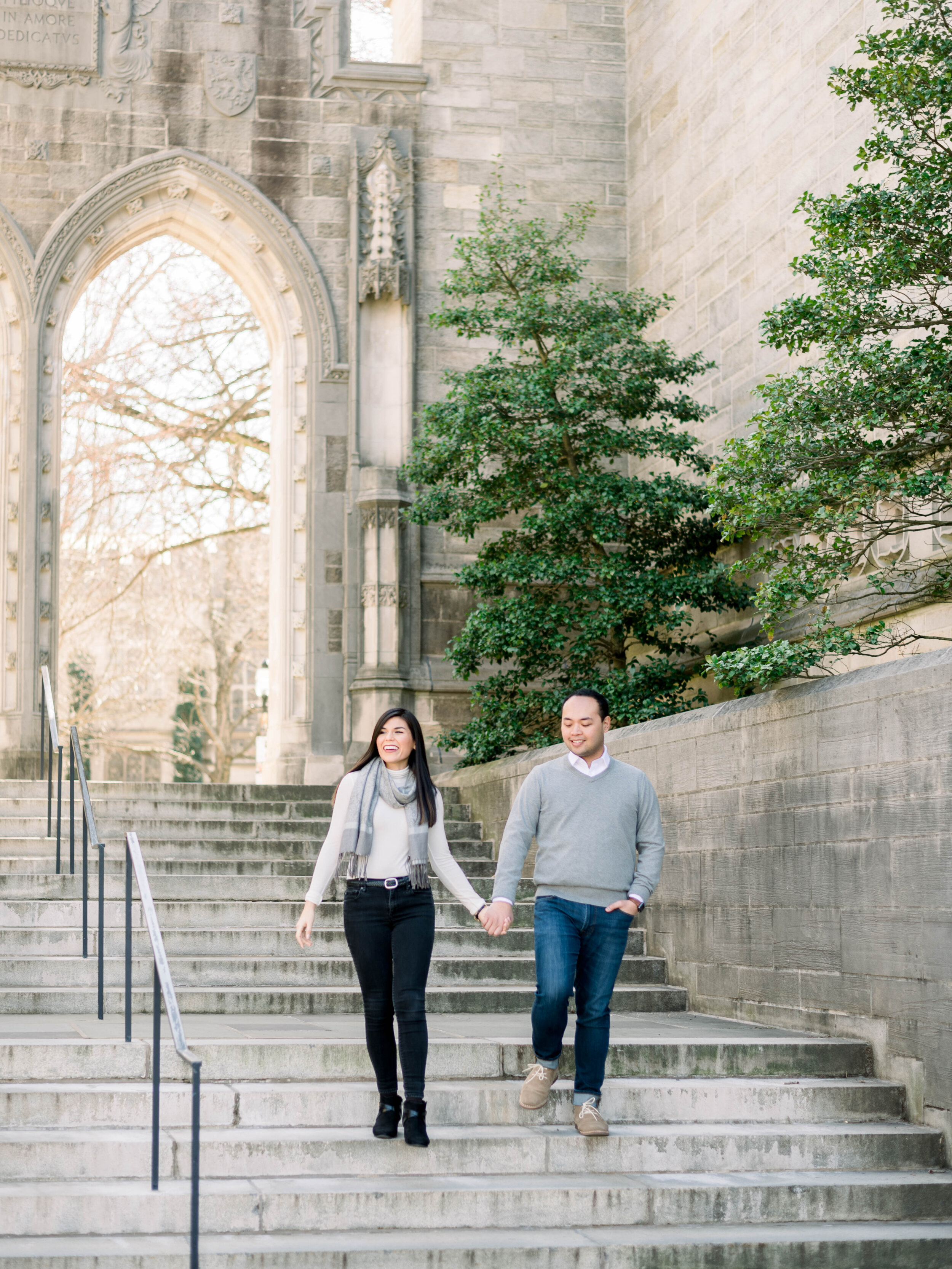 Outdoor lifestyle couples session with coffee, shopping in Princeton New Jersey on Princeton University Campus by Liz Andolina Photography