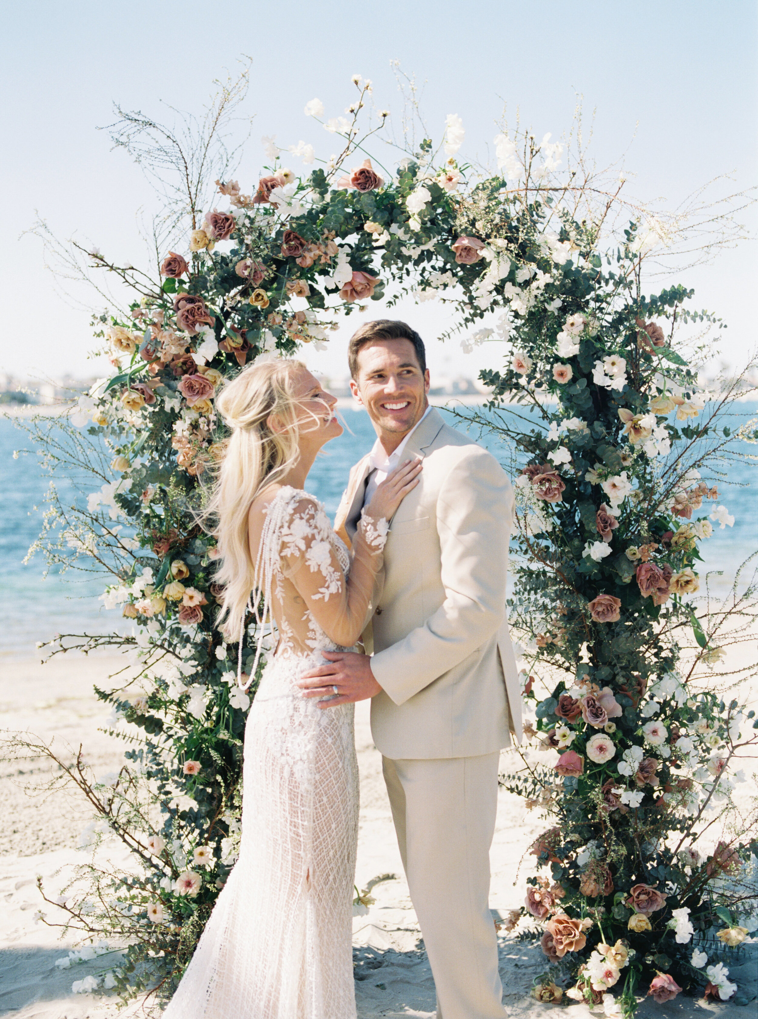 Refined and elegant destination fine art wedding on the beach in San Diego, California with Galia Lahav gown by Liz Andolina Photography
