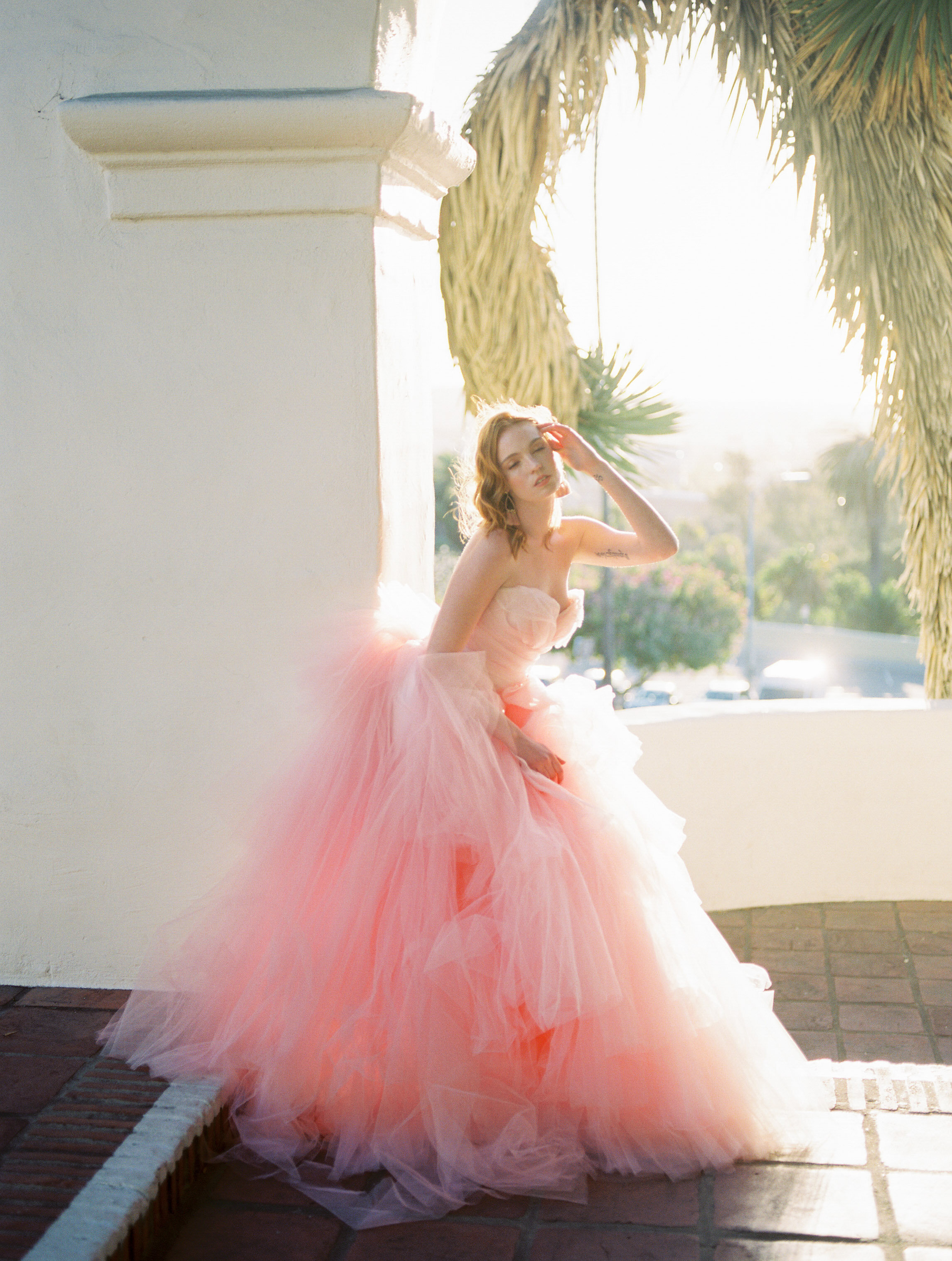 Colorful and elegant wedding editorial with stylish Alexandra Grecco dress at Junipero Serra Museum in San Diego, California by Liz Andolina Photography