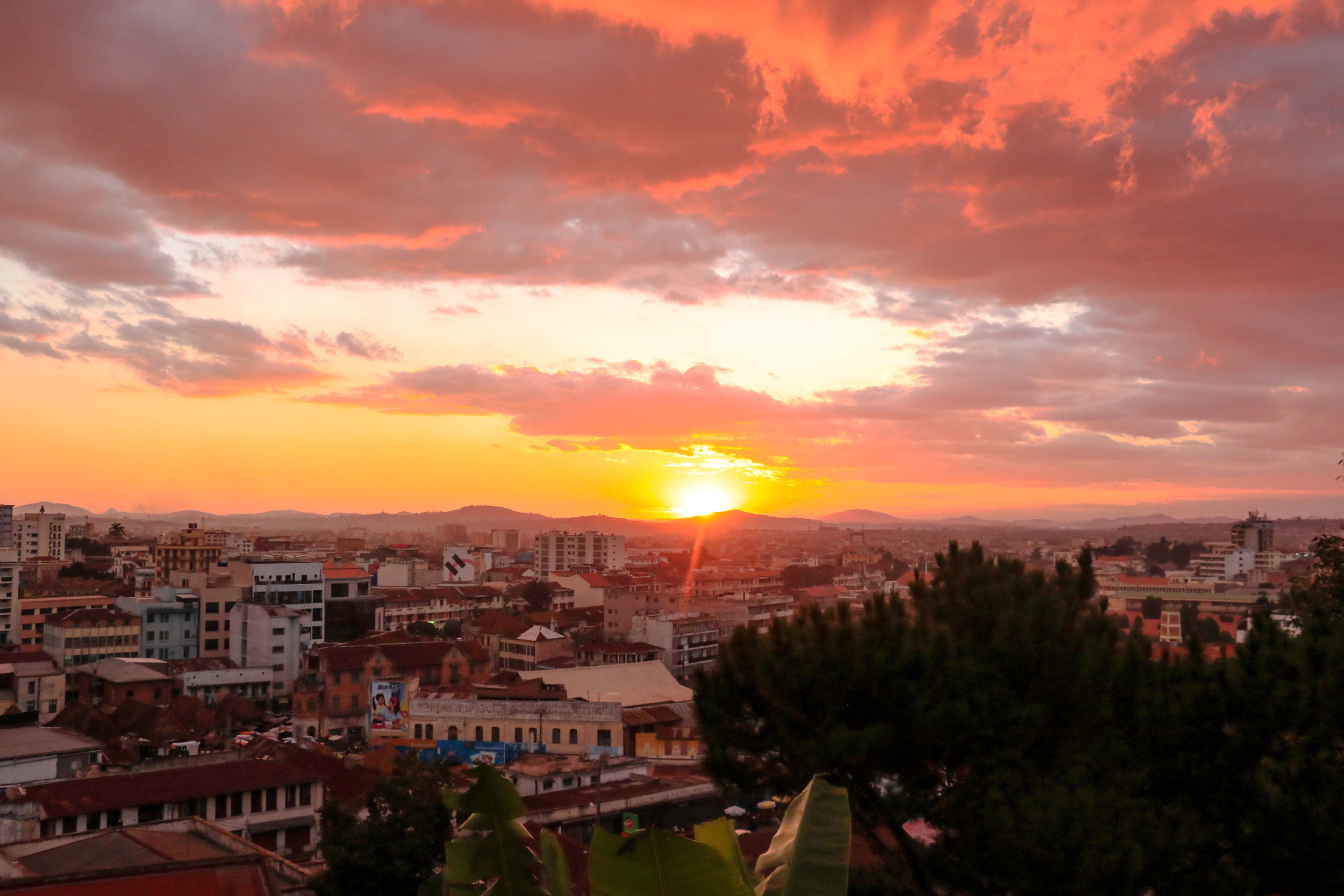 Sunset on our first night in Antananarivo, Madagascar © Mora Mora Photography