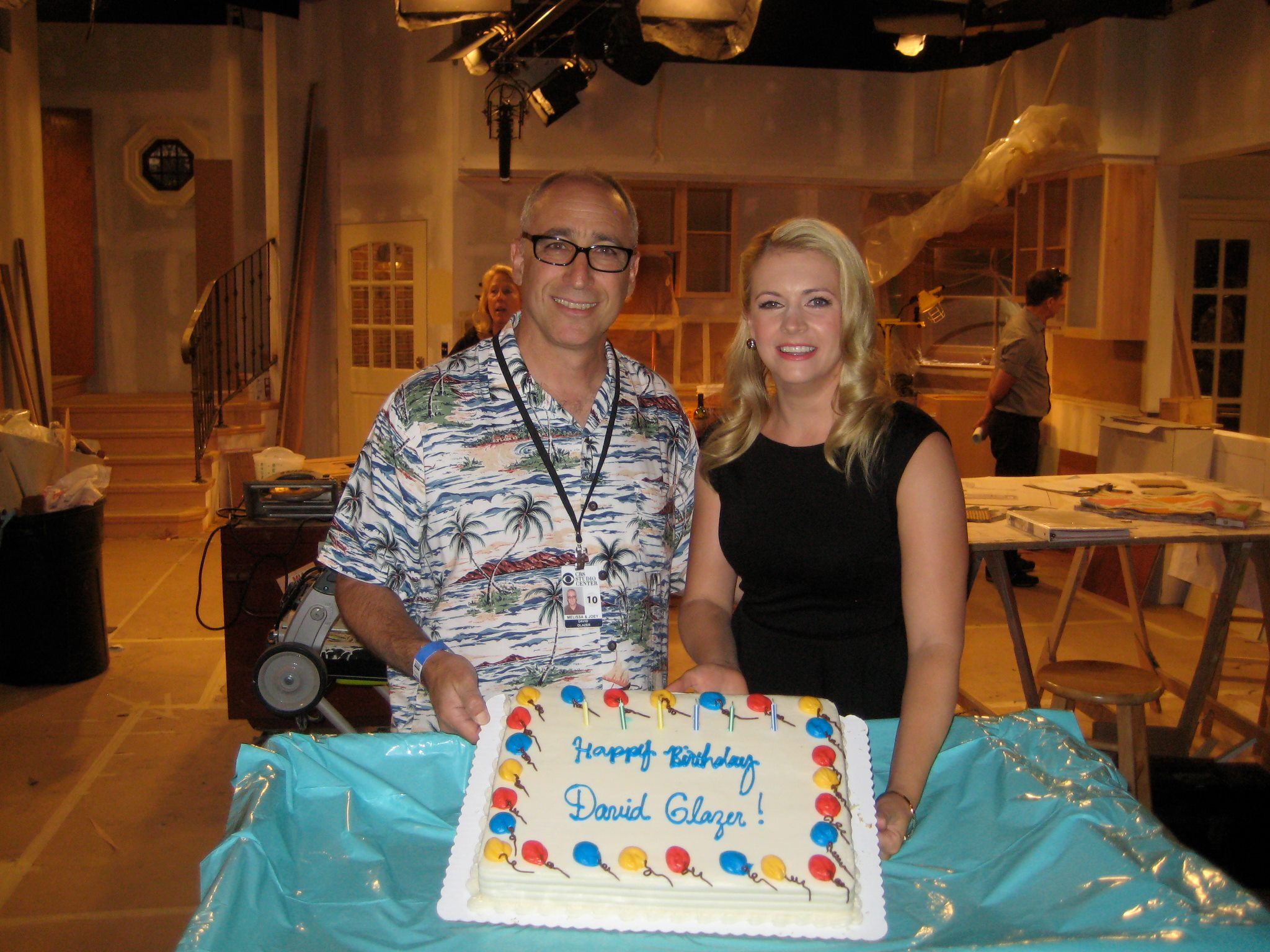 David and Melissa Joan Hart on the set of  Melissa and Joey.