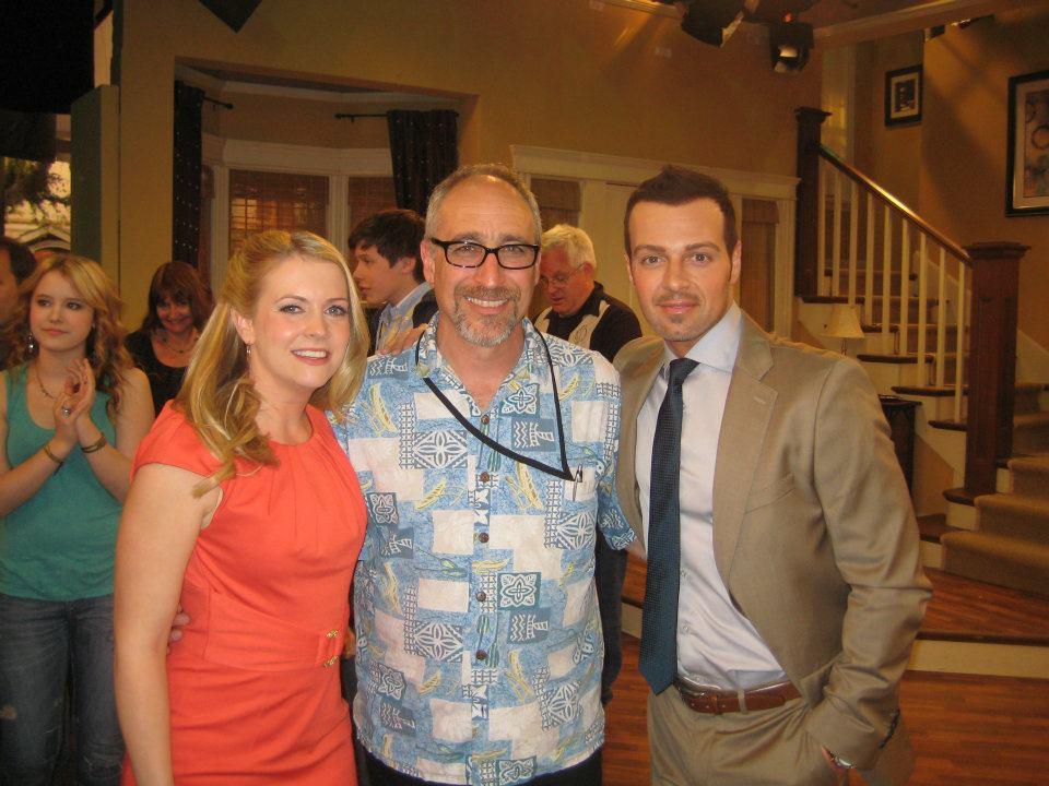 Melissa Joan Hart, David, and Joey Lawrence on the set of  Melissa and Joey .