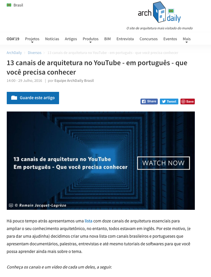Building Pictures' Youtube channel - Archdaily - one of 13 architecture channels in Portuguese that you need to know2015
