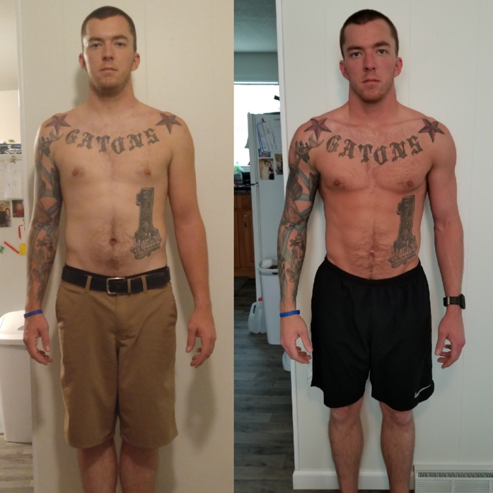 "2017 program - ""I REACHED OUT TO DREW IN SEPTEMBER OF 2017 AFTER JOINING THE AIR FORCE. I WASN'T HAPPY WITH THE WAY I LET MY BODY GET AND I DECIDED IT WAS TIME FOR A MAJOR CHANGE IN MY LIFESTYLE. I WAS SOMEWHERE IN THE 185-190 RANGE WHEN I STARTED AND WITH THE HELP OF DREW'S PROGRAM AND CHANGING MY DIET I AM NOW AT A MUCH HEALTHIER LEANER 175 LBS! I'M SUPER EXCITED ABOUT MY PROGRESS SO FAR AND I'M EAGER TO SEE WHERE IT GOES FROM HERE SINCE STARTING TO TRACK MY MACROS. I CAN'T THANK YOU GUYS ENOUGH FOR ALL YOUR HELP SO FAR, AND I CAN'T WAIT TO SEE WHAT THE REST OF THE YEAR HAS IN STORE FOR ME!"" - JOEY G."