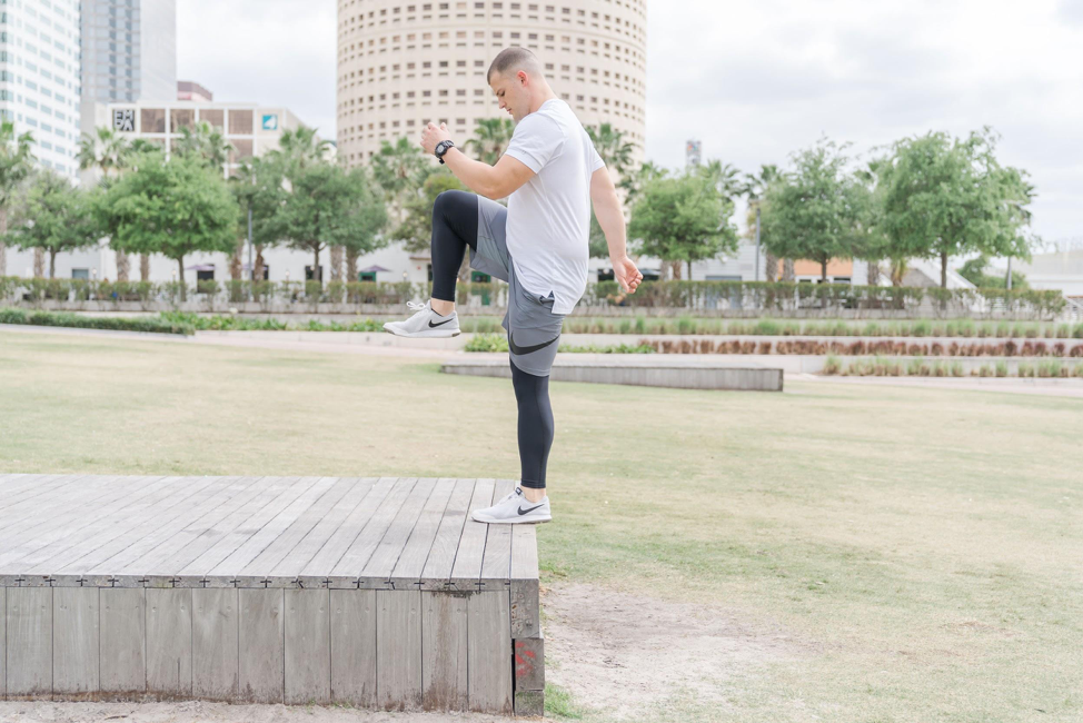 Ideas for workouts you can do outside, like this how step ups movement