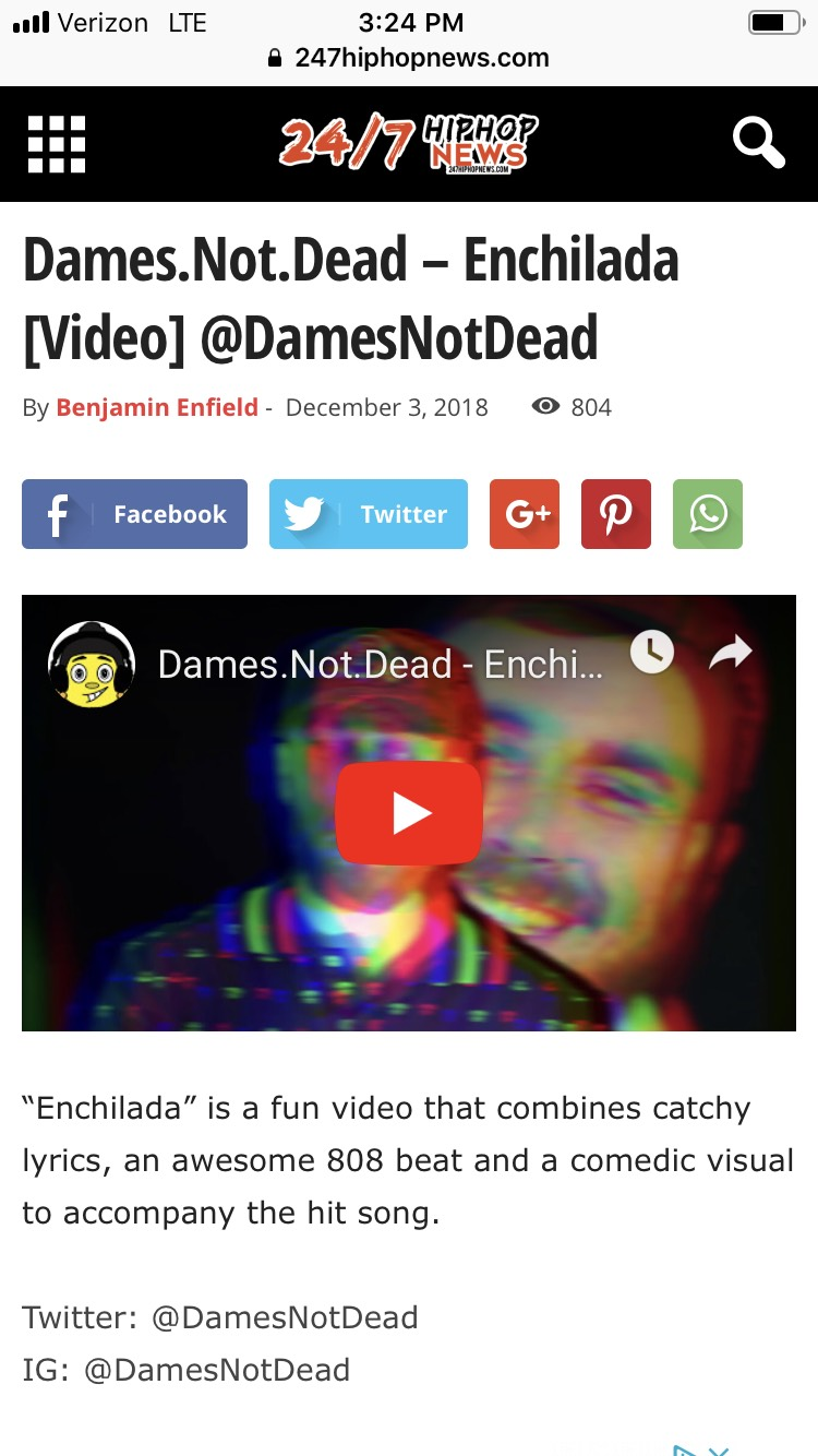 "24/7 Hiphop News - DamesNotDead // ""Enchilada"" & ""Fast"" Music Video Releases and Write Ups."