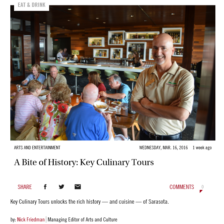 Key Culinary Tours Article - Sarasota Observer
