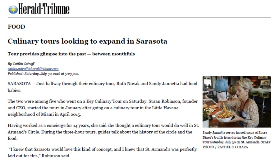 Herald Tribune - Culinary Tours Looking to Expand in Sarasota
