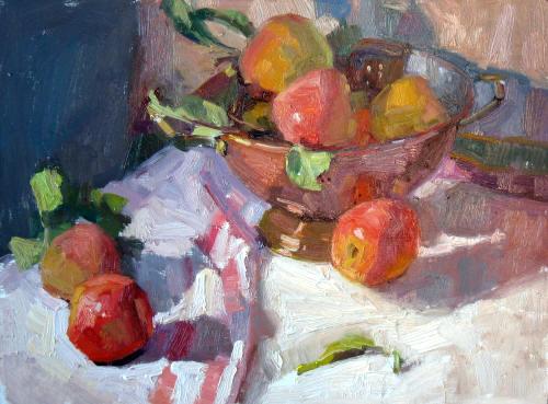 "Fresh Apples, 12""x16"", Oil on Board"
