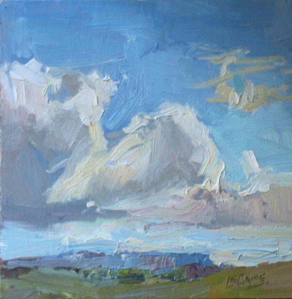 "Beautiful Sky, 12""x12"", Oil on Board"