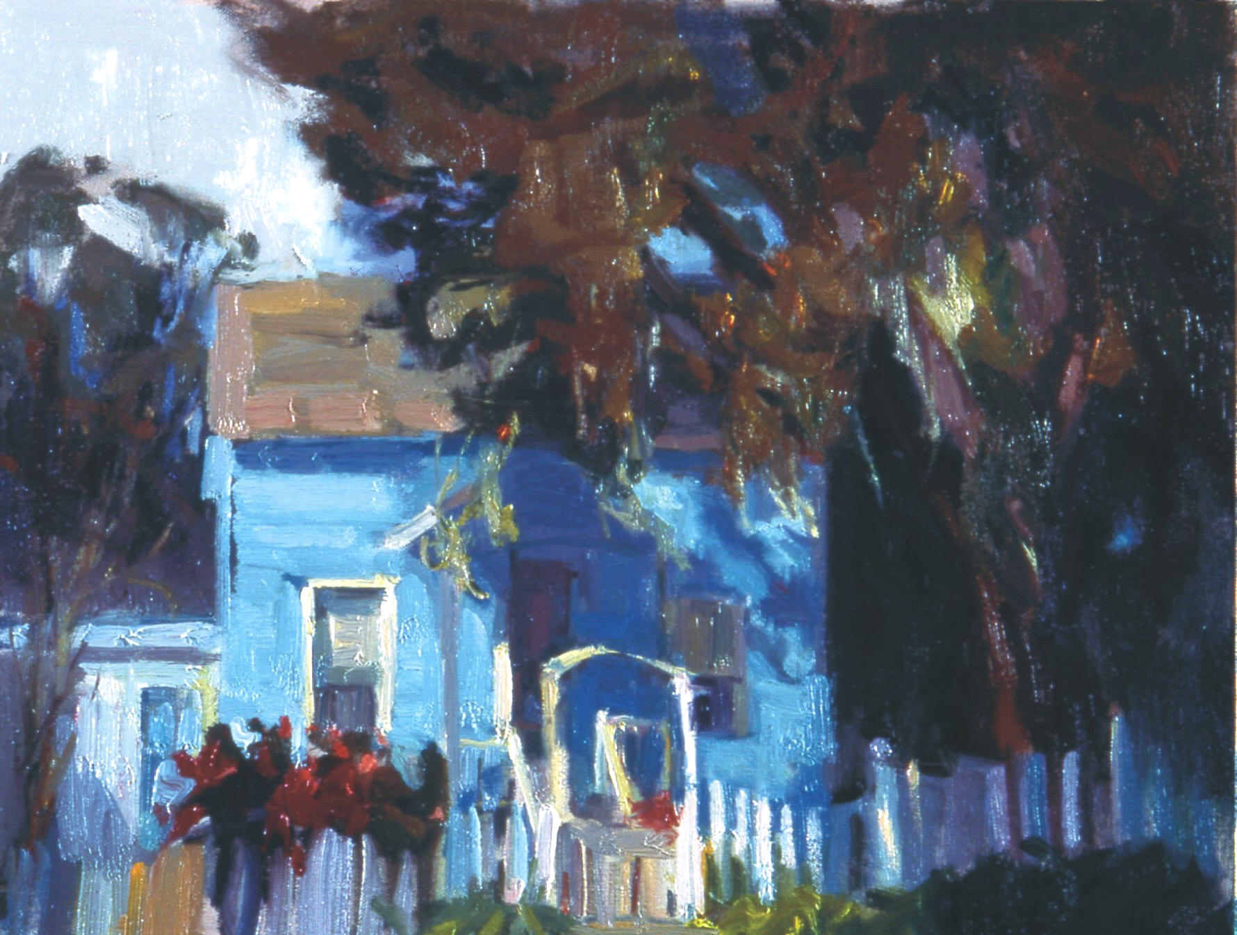 "Blue House, 16""x20"", Oil on Board"
