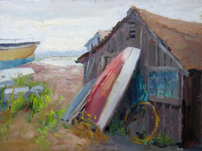 """Boathouse, 12""""x16"""", Oil on Board"""