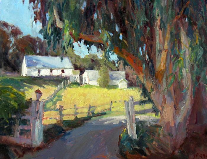 """Ranch Tree, 14""""x18"""", Oil on Board"""