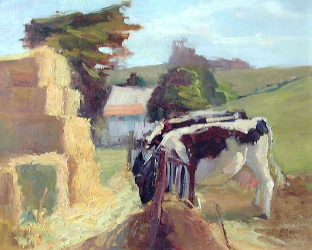 """Utterly Delicious Hay, 16""""x20"""", Oil on Board"""