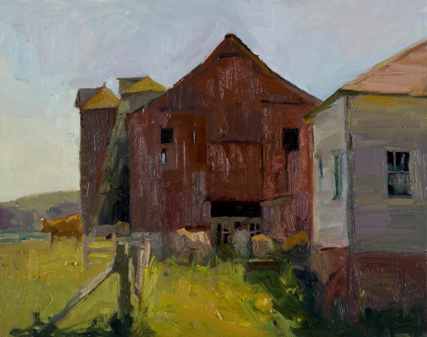"""Out Back, 14""""x18"""", Oil on Board"""
