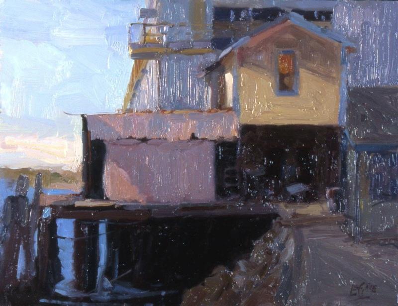 """On the Docks, 16""""x20"""", Oil on Board"""