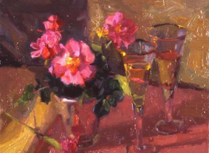"Wine & Roses, 11""x14"", Oil on Board"