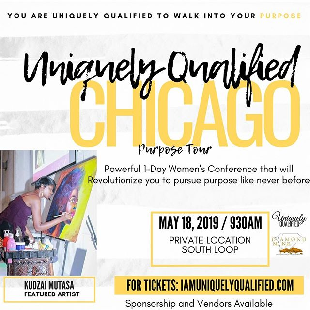 Chicago we are just 10 days away! May 18th the Uniquely Qualified's Purpose Tour will be happening and our featured artist @iam_kudzai will be present! . . Make sure you all get registered if you haven't already and come check out some amazing talent at our 1-day Women's Conference 🙌