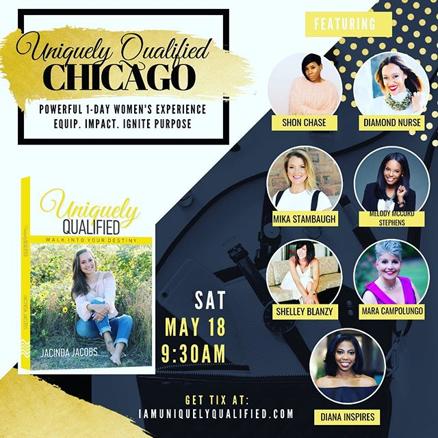Meet us in Chicago on May 18th for Uniquely Qualified's Inspirational Conference. Get your tickets at IamUniquelyQualified.com. Grab your girlfriends, enjoy great food, laughter & purposeful conversation.  Let's connect with awesome ladies, grow & be inspired! I can't wait to connect with this dynamic tribe of speakers & entertainers: @shelleyblanzy @mikastanbaugh @chasey_ @diamond.nurse @iam_kudzai  @dianainspires @melodymmcordstephens @justjacinda join us in the movement to ignite women to pursue purpose.