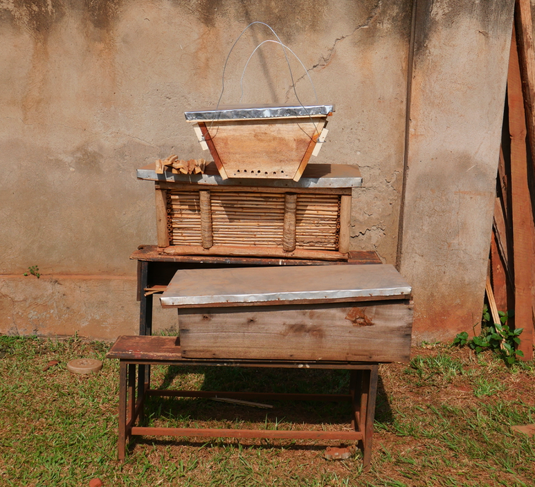 A bee hive made of local, cheap materials