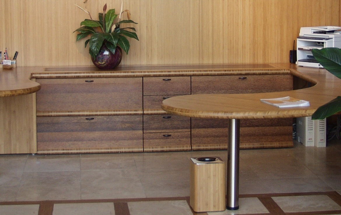 Coconut Palm in flat grain facing on an office credenza. Designed and crafted by Paul Rice.