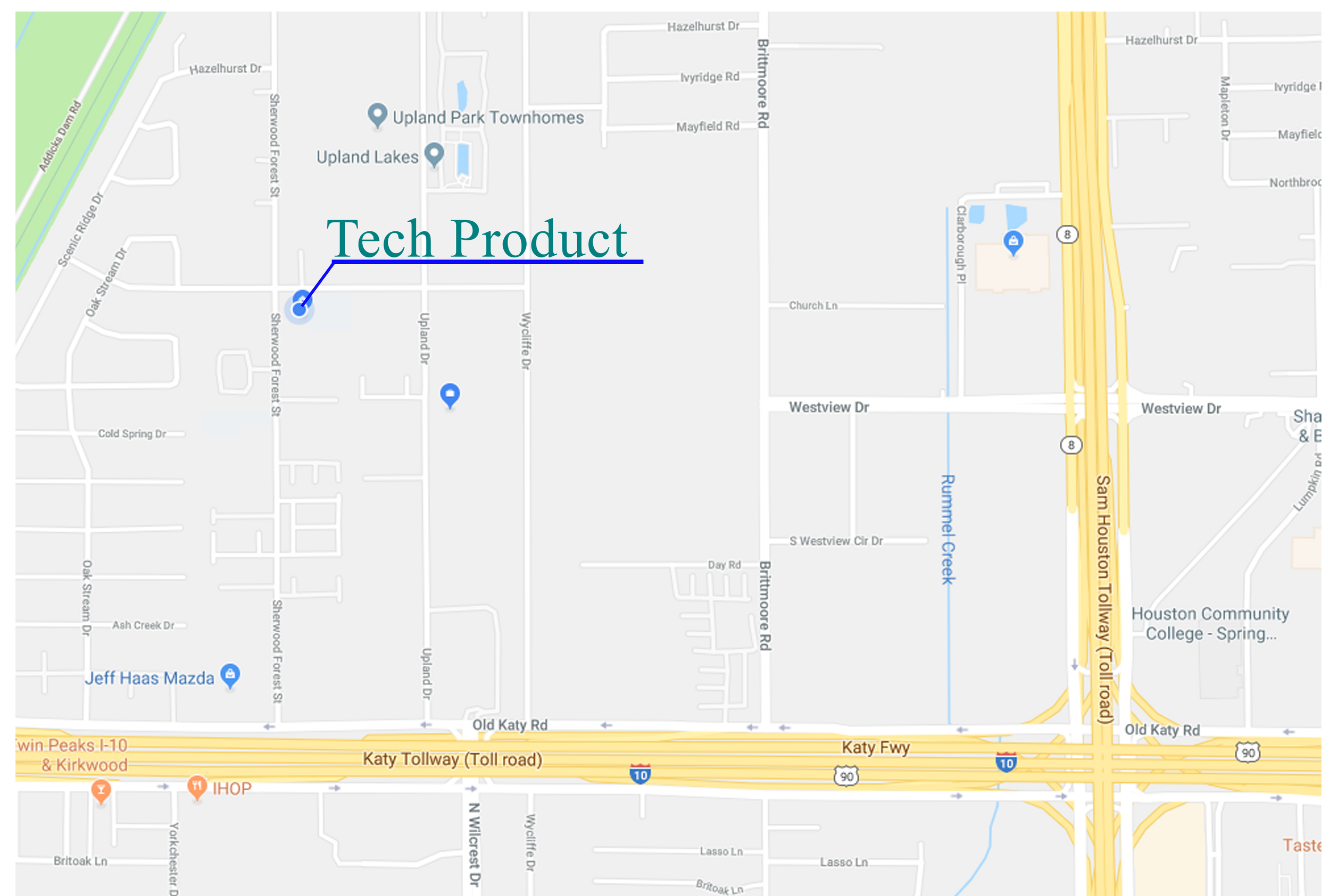 Our office / warehouse is located at 11063 Timberline Road, Houston, TX 77043