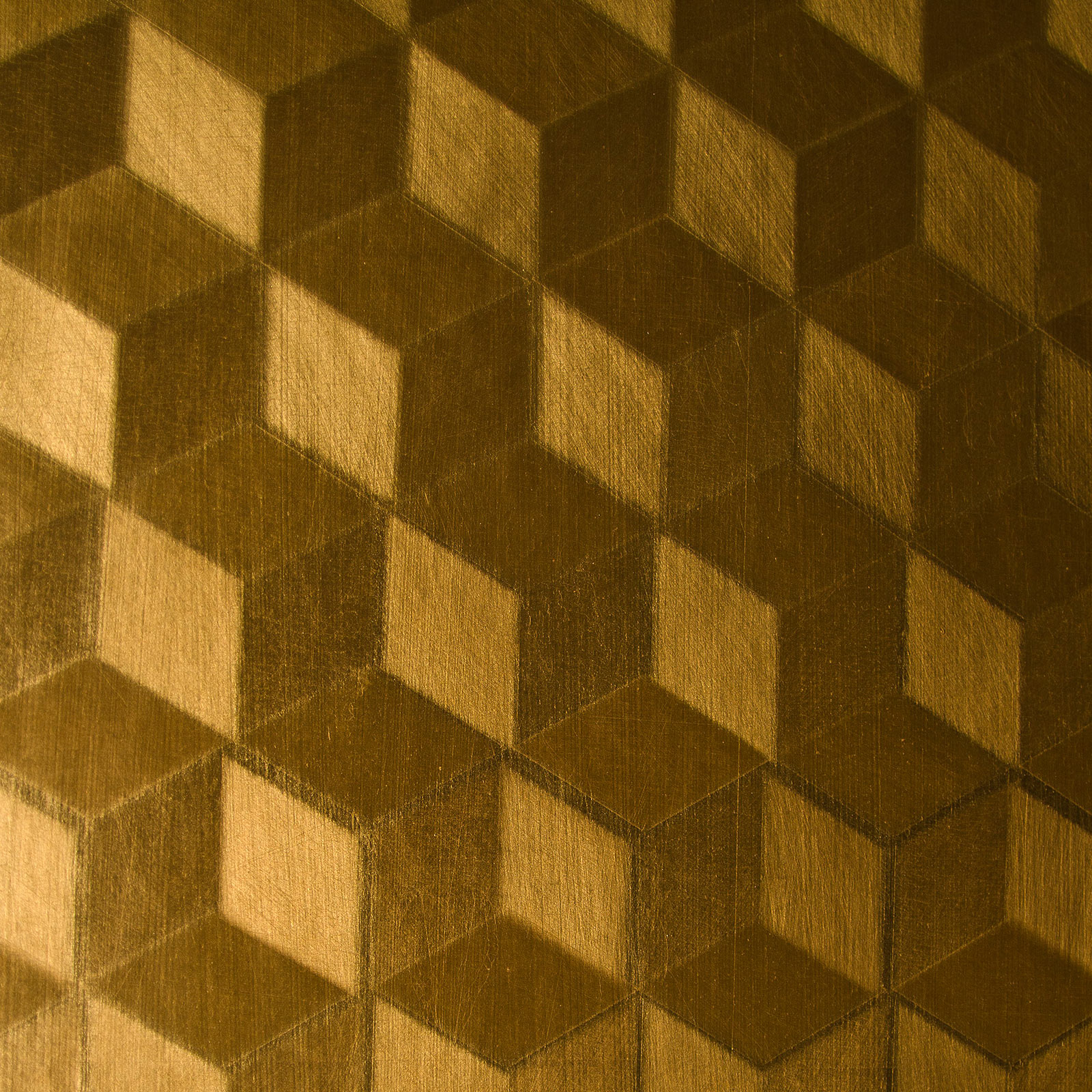 METALLIC - Hand gilded metallic leaf etched with a scaled isometric cube pattern, finished with a durable tinted varnishFull custom capabilitiesASTM E-84 Class A