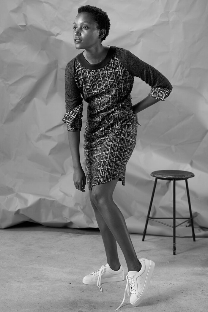 Weiches Jerseykleid im Pullover–Look.