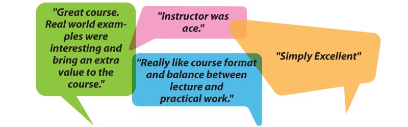 """teradata training testimonials: """"Great course. Real world examples were interesting and bring an extra value to the course."""" """"instructor was ace"""" """"really like course format and balance between lecture and practical work"""" """"simply excellent"""""""