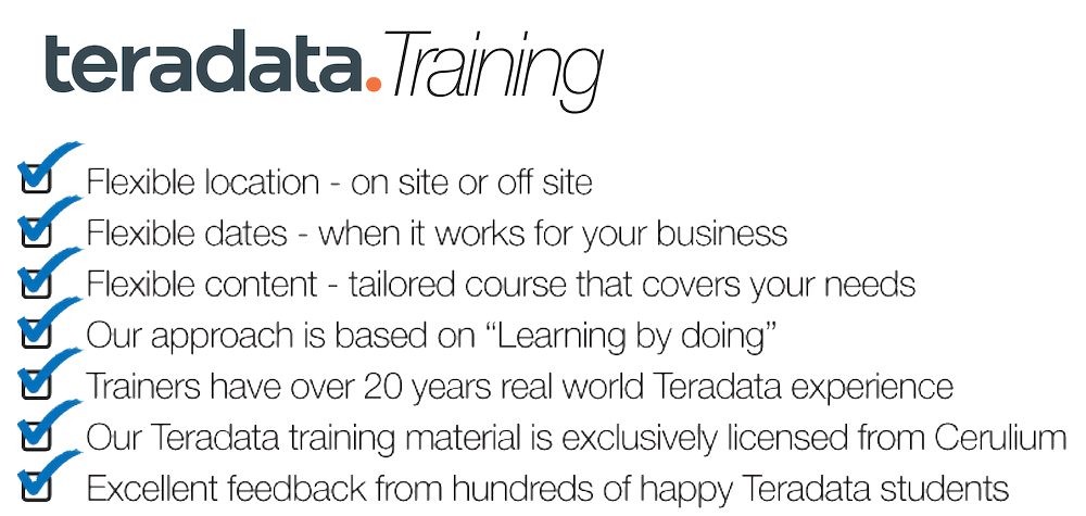 teradata.training, flexible location, flexible dates, flexible content, learning by doing, 20 years experience, exclusive material