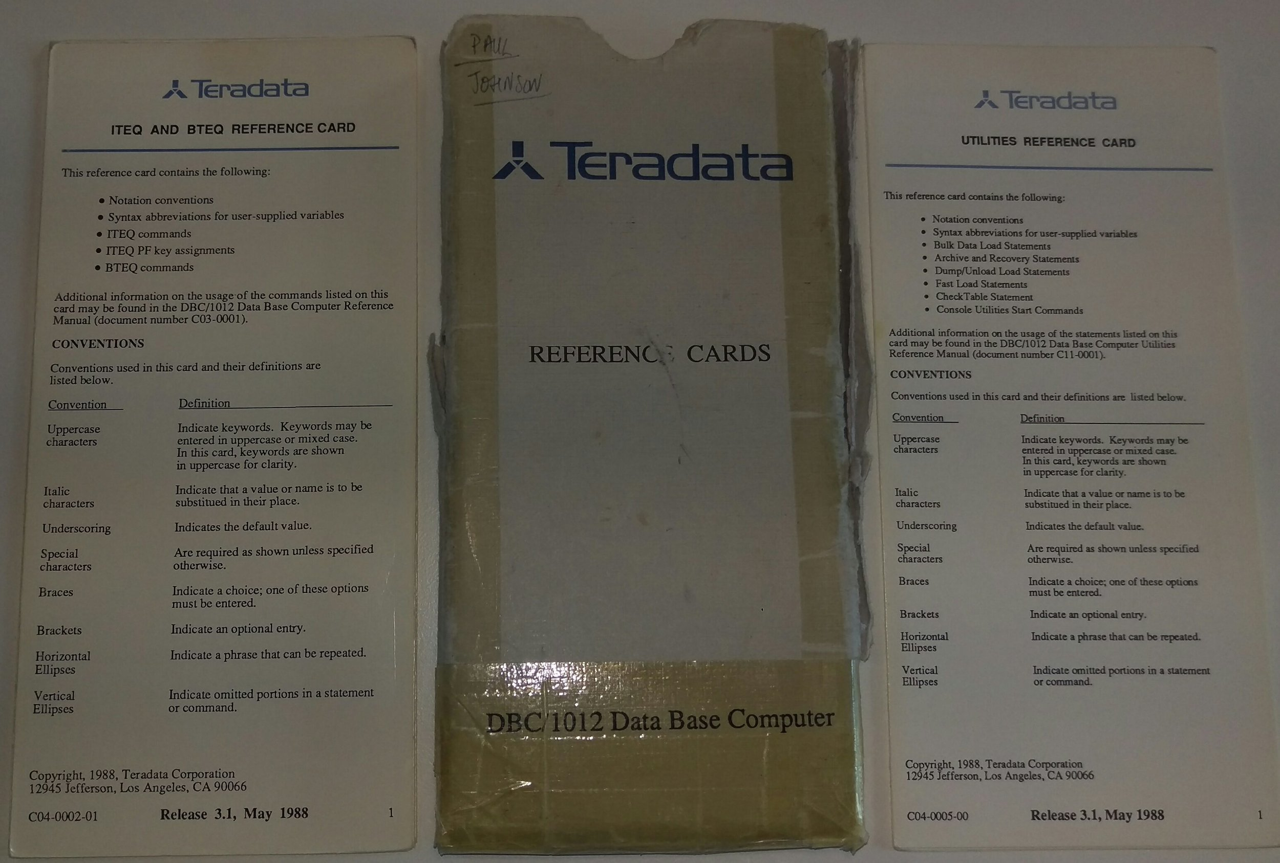 Teradata ITEQ/BTEQ & Utilities Reference Cards.