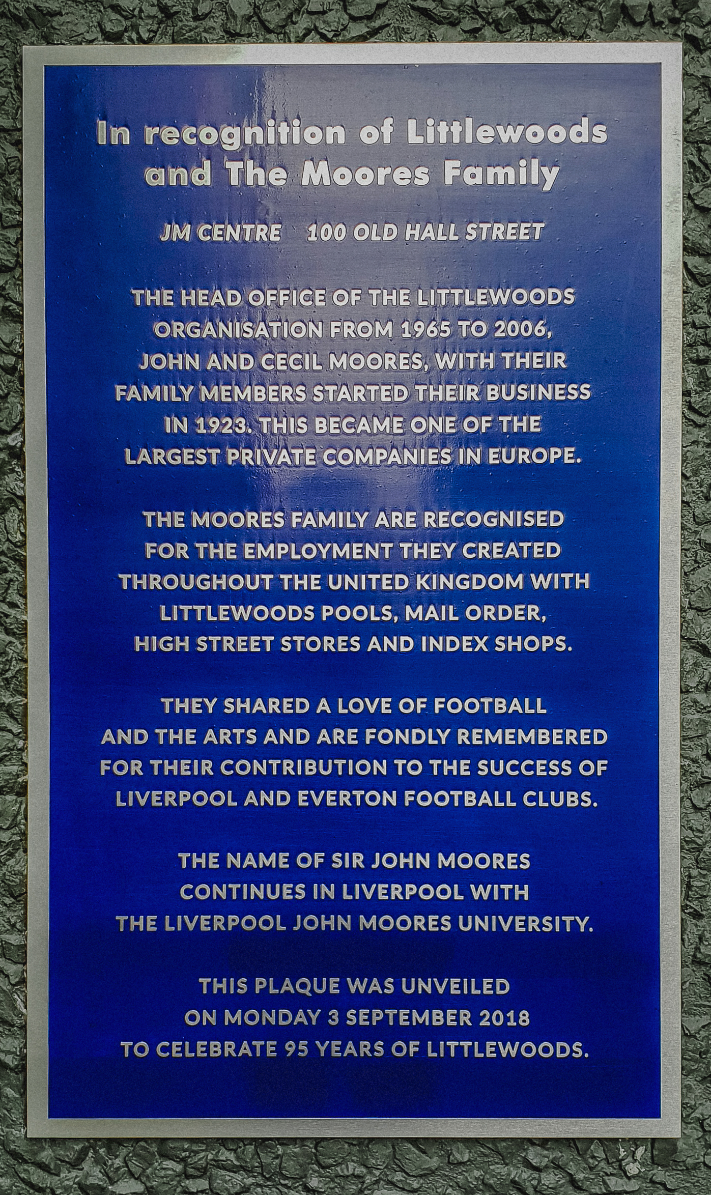 Littlewoods plaque on Old Hall Street