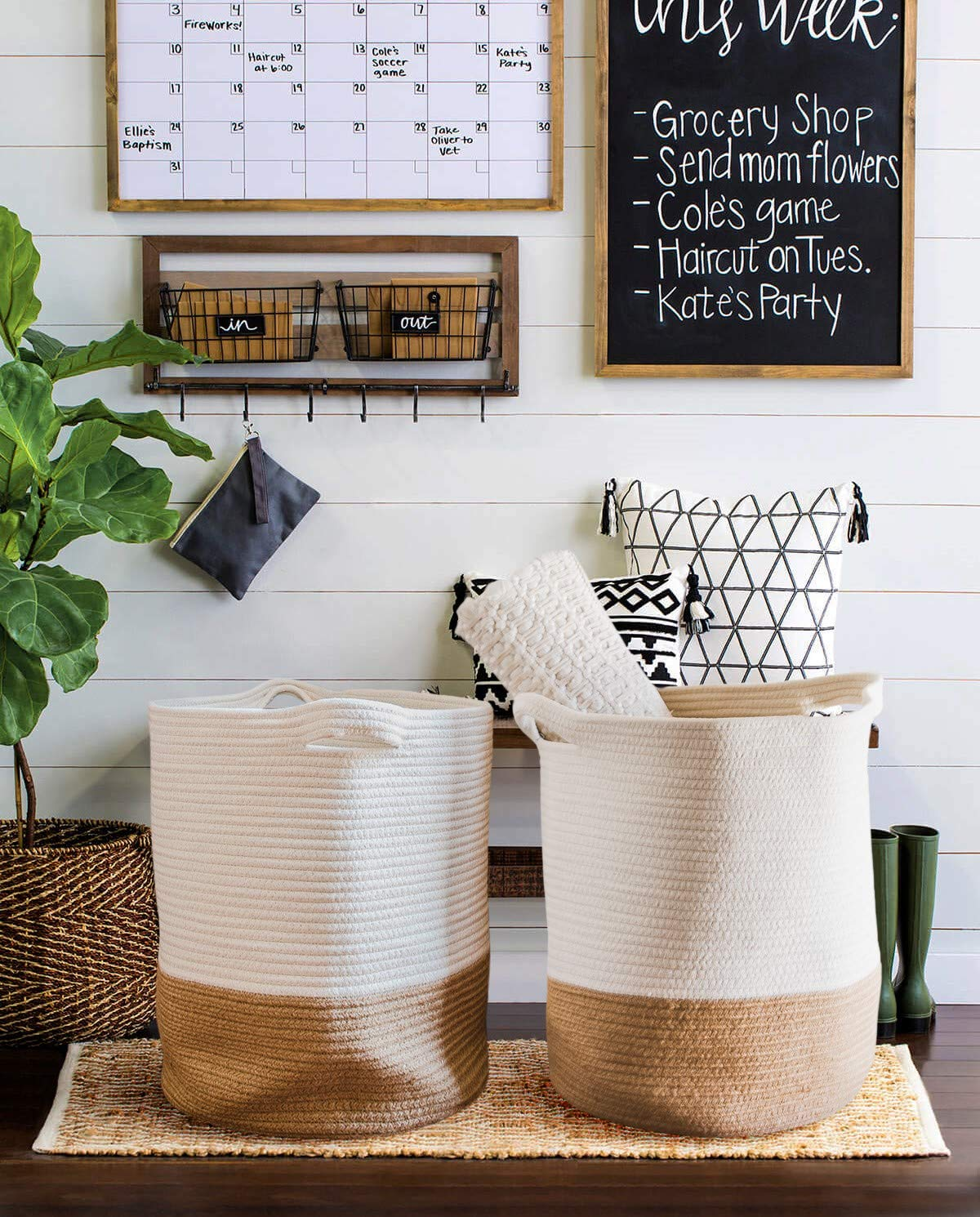 $29.99 - Extra Large Woven Baskets | Again - I use these for everything but these guys tend to love holding my blankets around the house.