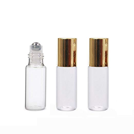 $8.50 - 10Pack 5ML Gold Cap Roller Bottles | We fill these guys with every day rollers (some with low concentration so the kids can roll them on themselves) and we feel fancy as f*** every time we roll :)