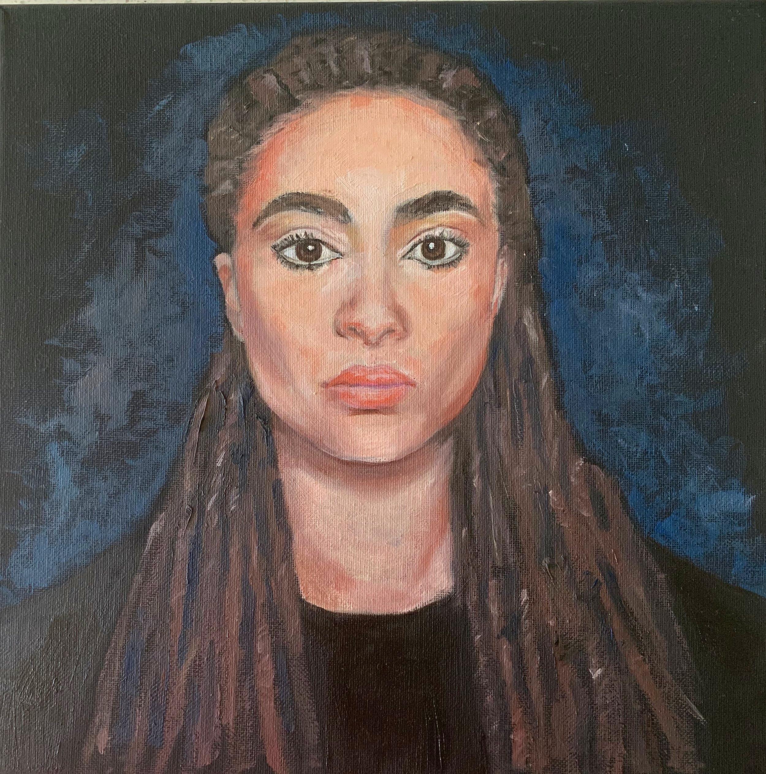 10 x 10 oil on black canvas