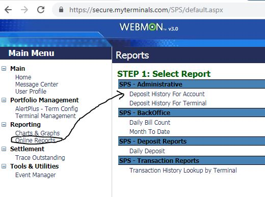 Deposit History for Account - Breakdown of Deposits to funding accounts sourced from a Terminal over a date range