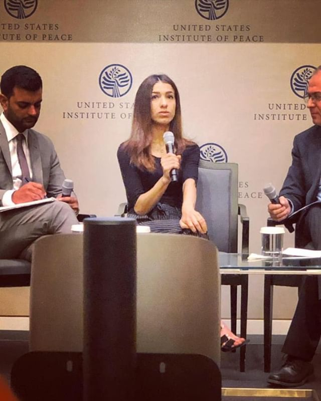 She is the definition of courage, hope, and resilience. Five years ago, Nobel Peace laureate Nadia Murad's village was attacked by ISIS and she was captured and enslaved along with 6,700 Yazidi women. Six of her brothers were killed, and along with her nephews, remain missing to this day. . Nadia has risen from her experiences to become the leading advocate for women and children victimized by genocide, mass atrocities, and human trafficking. Her goal is to see them heal and rebuild their lives and communities. . In 2018, she awarded the Nobel Peace Prize for her efforts to sexual violence as a weapon of war and armed conflict. — at United States Institute of Peace