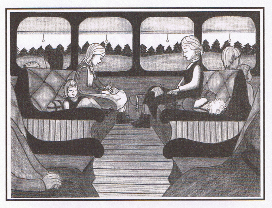 The Train ride - This illustration by Gail Alden Hedstrom, depicts what the train ride might have been for Britta and her family from their home near Vaasa to the port at Hango. There they caught the Arcturus, shown on the right, which took them on a rocky ride across the Baltic Sea to Hull, England.