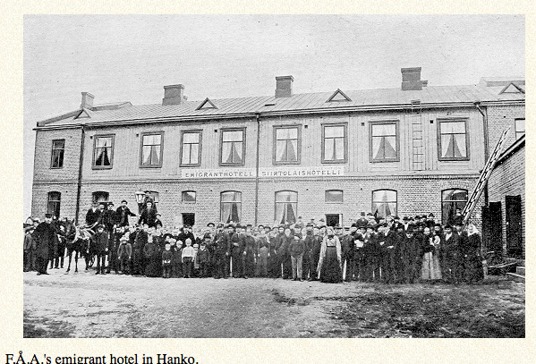A delay - Emigrants had to spend a night or two at an emigrant hotel in Hull England, much like this one in Hanko. Rooms filled up quickly, so Britta and her family ended up sleeping on the floor of the hotel's lobby.