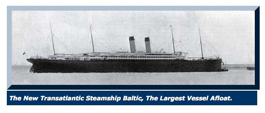 At long last… - The family was finally able to board the Baltic for their trip to America, three months after leaving Finland. It was a LONG summer, and a long voyage.