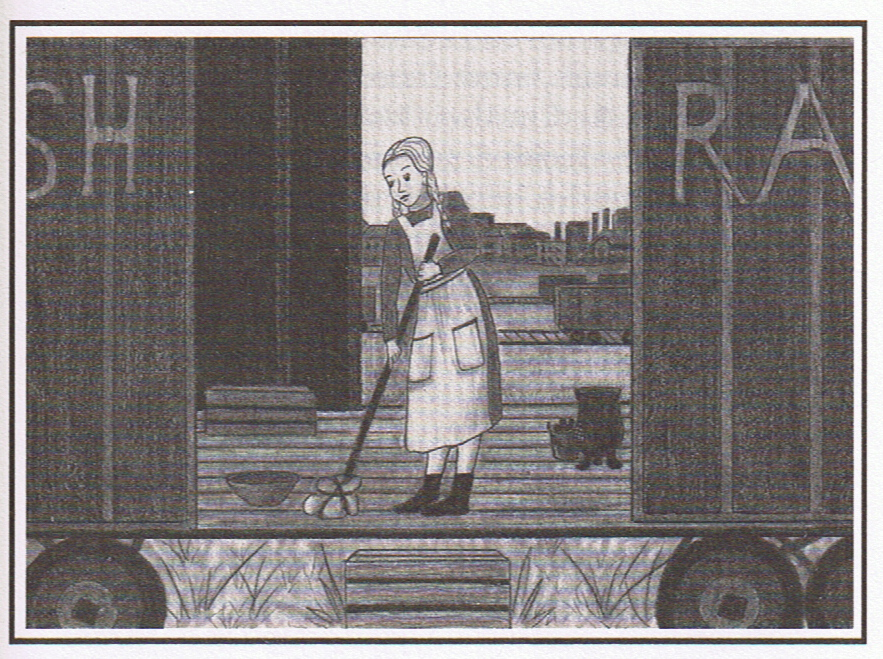 Life in a train car - Another illustration by Gail Alden Hedstrom depicts Britta cleaning out the railway car they lived in all summer in Liverpool when they were denied passage on the ship because...well, read the book!