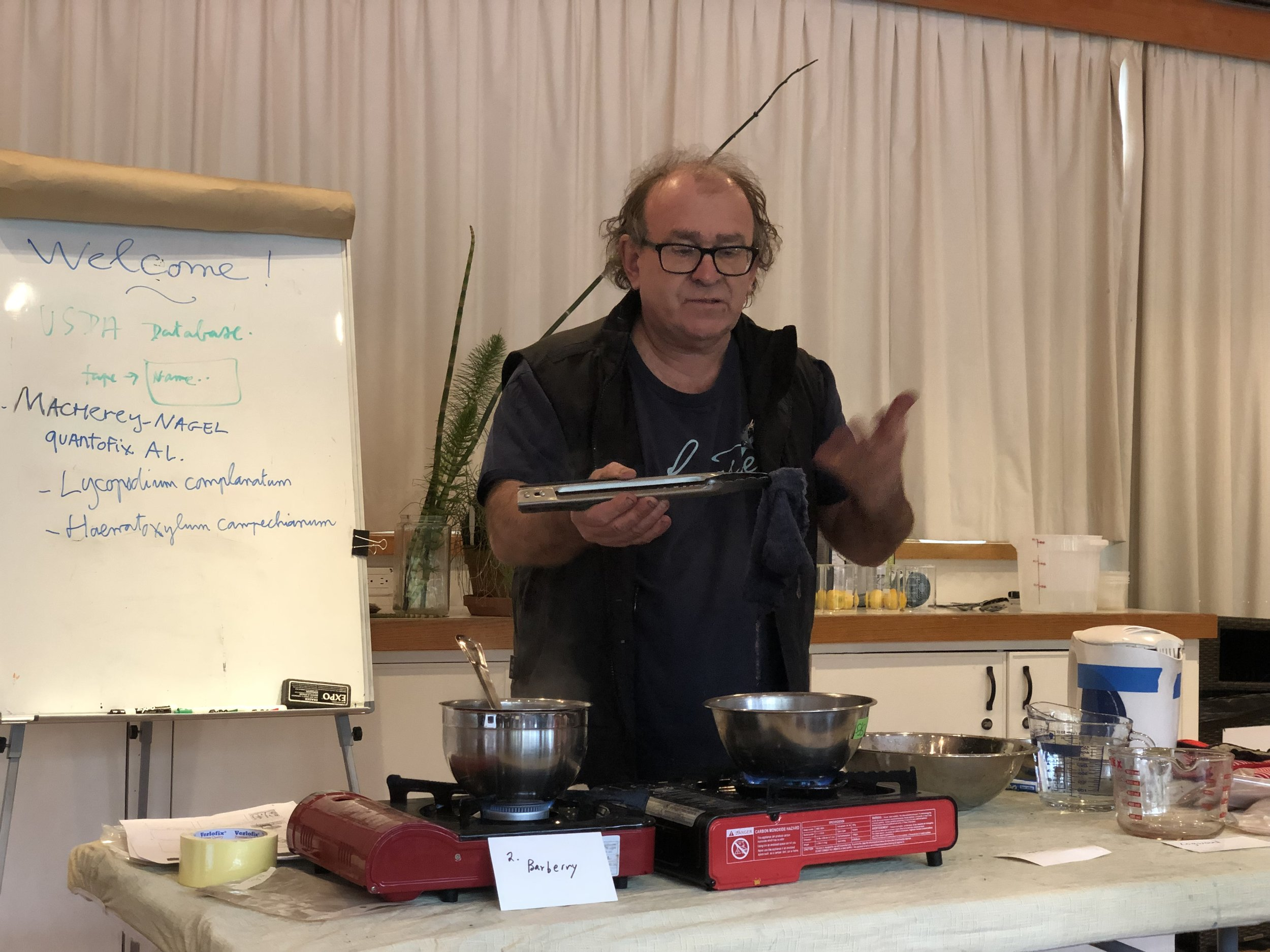 Michel Garcia demonstrating natural mordants and dyes.